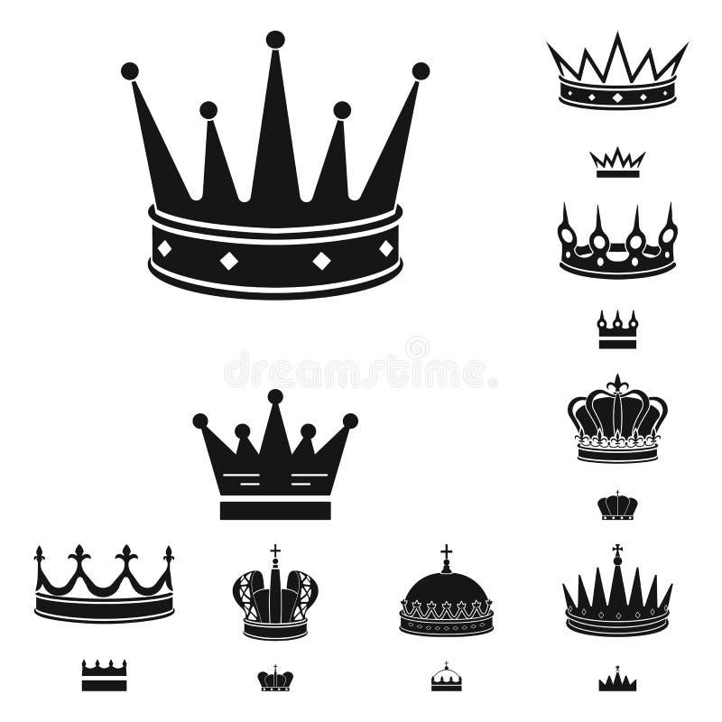 Dise?o del vector de rey y de icono majestuoso Fije del ejemplo del vector de la acci?n del rey y de oro ilustración del vector