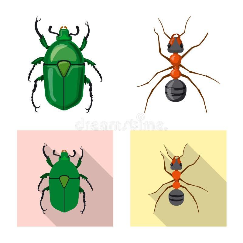 Dise?o del vector de s?mbolo del insecto y de la mosca Colecci?n de icono del vector del insecto y del elemento para la acci?n ilustración del vector