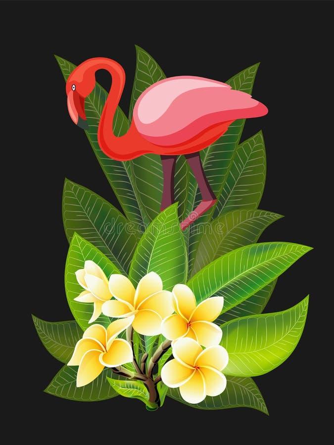 Dise?o del verano para hacer publicidad con el flamenco, las hojas tropicales y las flores imagen de archivo libre de regalías