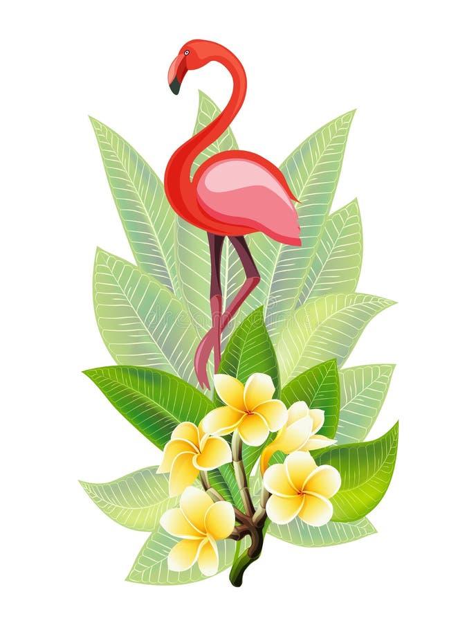 Dise?o del verano para hacer publicidad con el flamenco, las hojas tropicales y las flores fotos de archivo