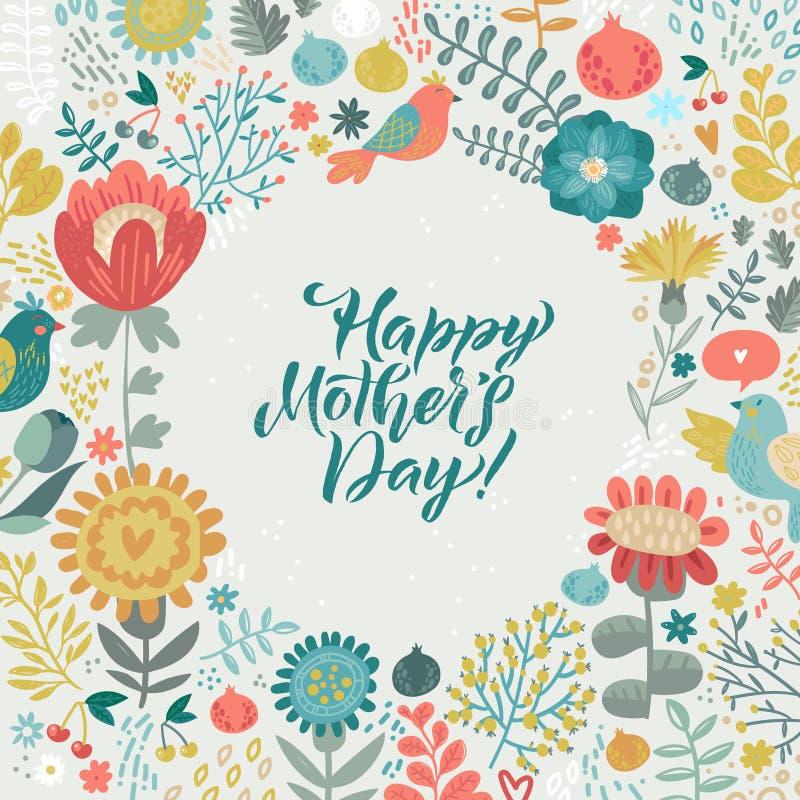 Dise?o feliz de la caligraf?a del d?a de madres en fondo floral Ilustraci?n del vector Dise?o de la caligraf?a del saludo del d?a stock de ilustración