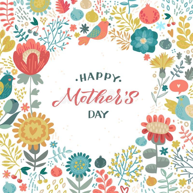 Dise?o feliz de la caligraf?a del d?a de madres en fondo floral Ilustraci?n del vector Dise?o de la caligraf?a del saludo del d?a libre illustration