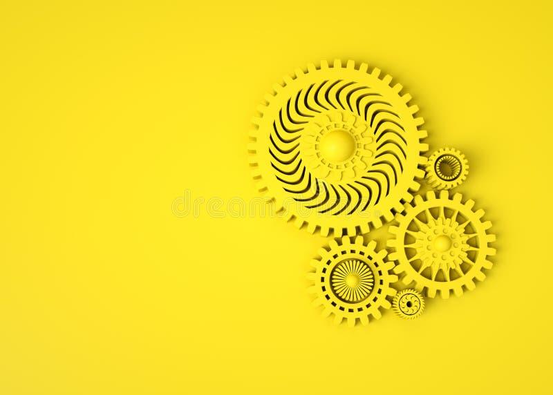 Dise?o geom?trico abstracto 3D Composición de engranajes amarillos en fondo amarillo monocrom?tico M?quina mec?nica de la tecnolo stock de ilustración