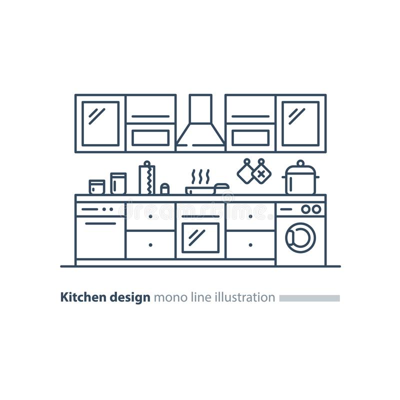 Dise?o interior de la cocina, sistema de los muebles, plan del arreglo ilustración del vector
