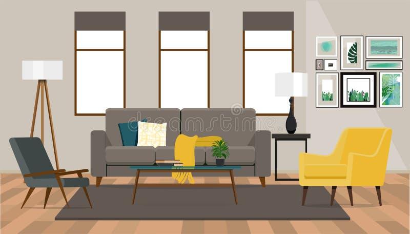 Dise?o interior de la sala de estar con un sof? y dos butacas en el fondo de una pared con las ventanas stock de ilustración