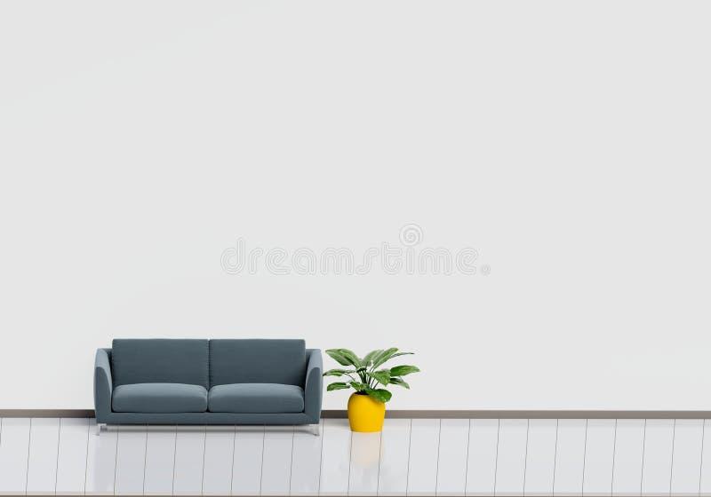 Dise?o interior moderno de sala de estar con el sof? negro con el pote brillante blanco y de madera del piso y de la planta Conce fotos de archivo