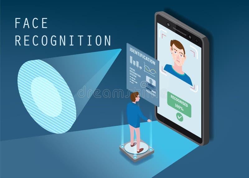 Dise?o isom?trico El smartphone explora la cara de una persona Identificaci?n biom?trica, masculina El smartphone explora ilustración del vector