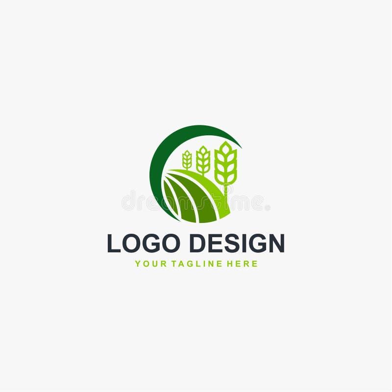 Dise?o natural del logotipo de la planta del grano Vector natural del dise?o del logotipo stock de ilustración