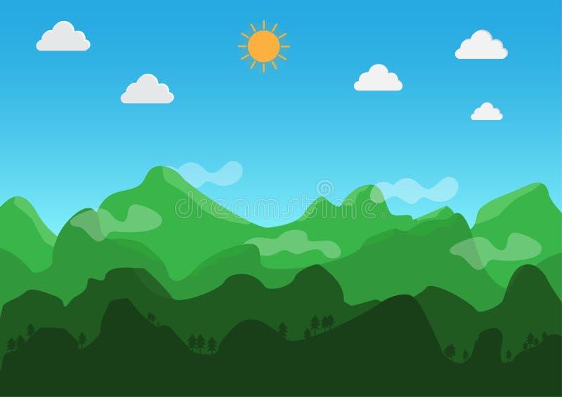 Dise?o plano del paisaje Durante el d?a, el tiempo est? claro Vector Ilustraci?n stock de ilustración