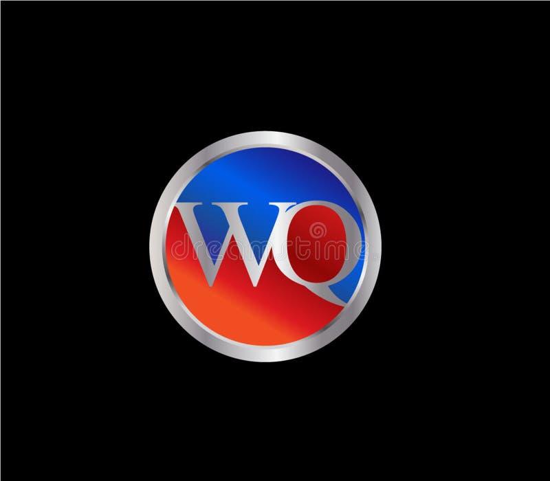 Dise?o posterior rojo de plata del logotipo del color azul de la forma inicial del c?rculo de WQ ilustración del vector