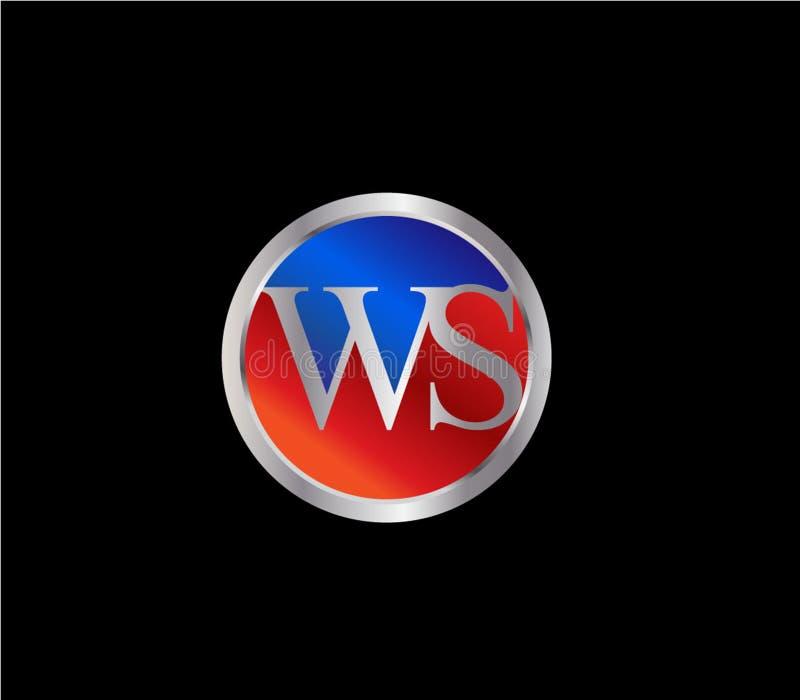 Dise?o posterior rojo de plata del logotipo del color azul de la forma inicial del c?rculo de WS libre illustration