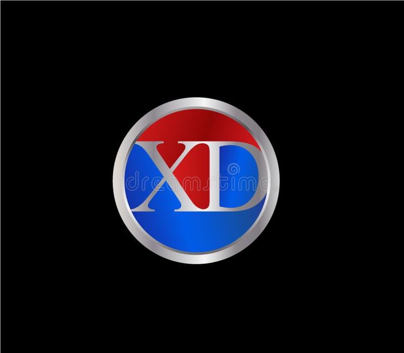 Dise?o posterior rojo de plata del logotipo del color azul de la forma inicial del c?rculo de XD stock de ilustración