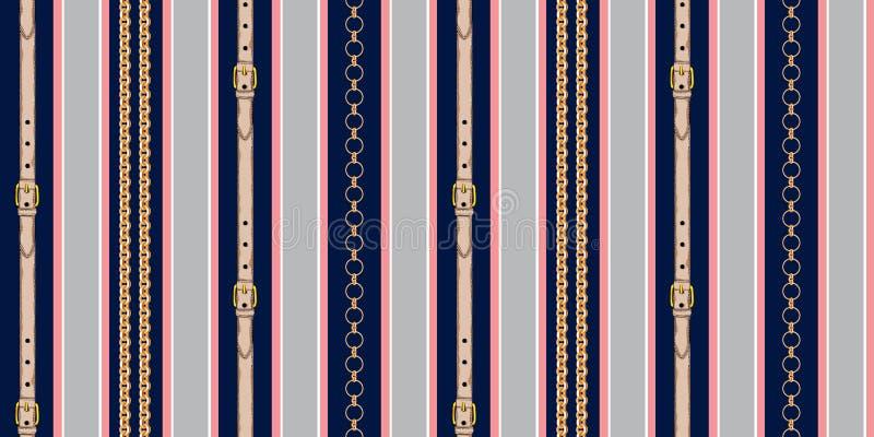 Dise?o rayado incons?til con las cadenas y las correas en fondo alineado rojo y negro ilustración del vector
