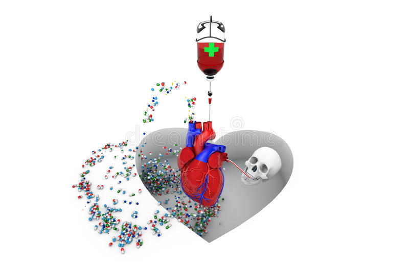 Disease, healthcare and medicine, cardiovascular risk. Image symbolizing cardiovascular disease and risk of death due to heart disease royalty free illustration