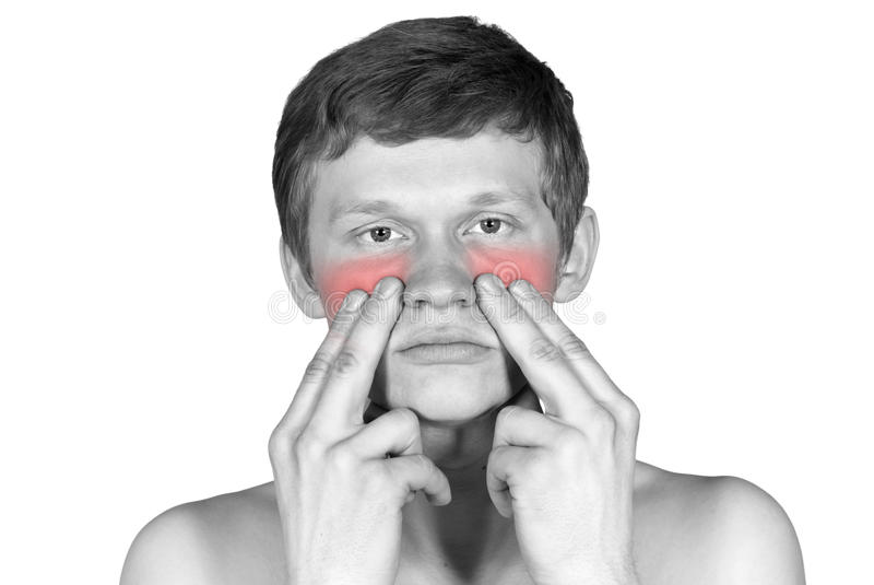 Disease of the nose. Disease is marked with a red nose royalty free stock image