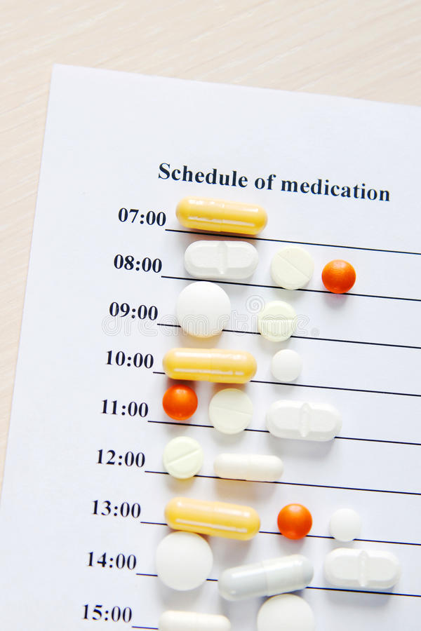 Disease. Schedule of medication for a day with various pills royalty free stock images