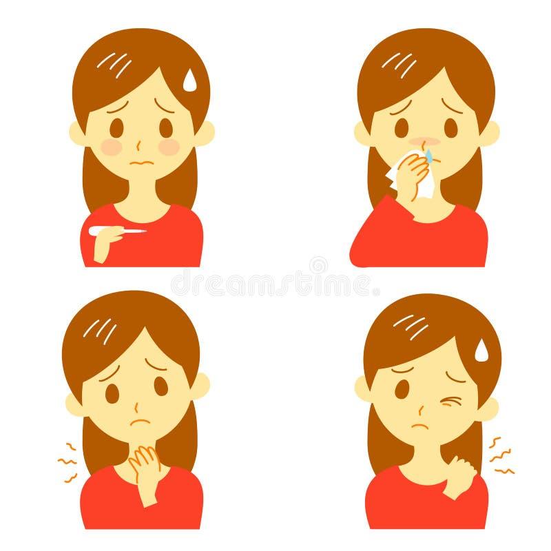 Disease Symptoms 02. Disease symptoms, fever and sore throat dripping nose, stiff shoulders vector illustration
