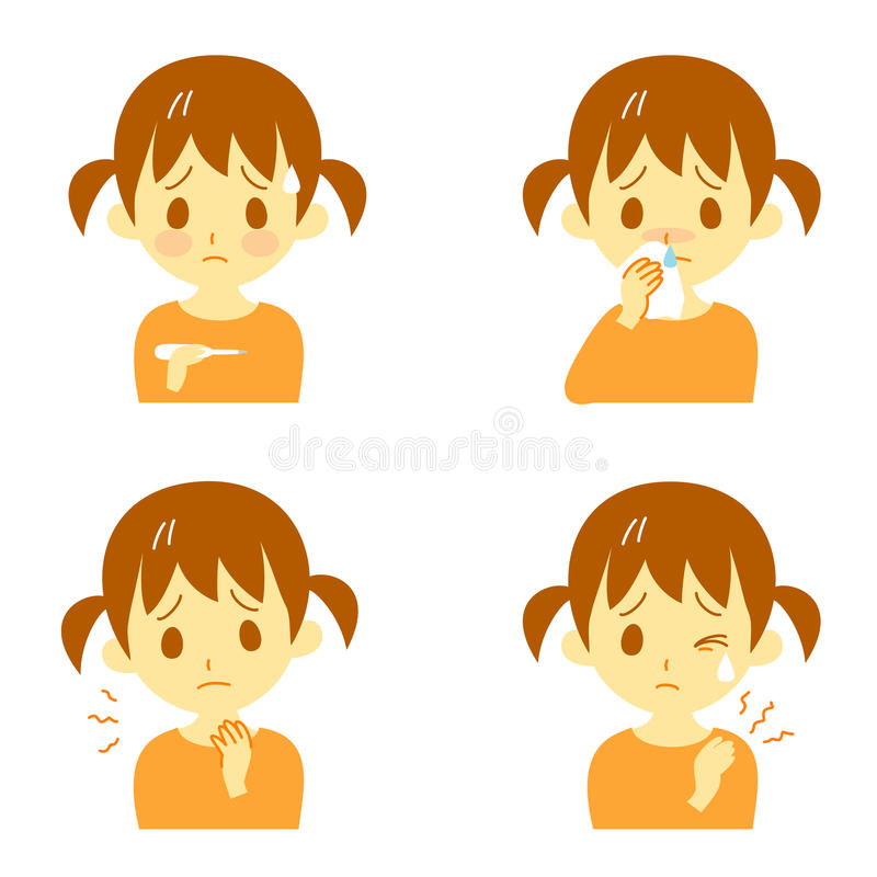 Disease Symptoms 02, girl. Disease Symptoms and signs, fever, sore throat,dripping nose,stiff neck, expressions, girl vector illustration