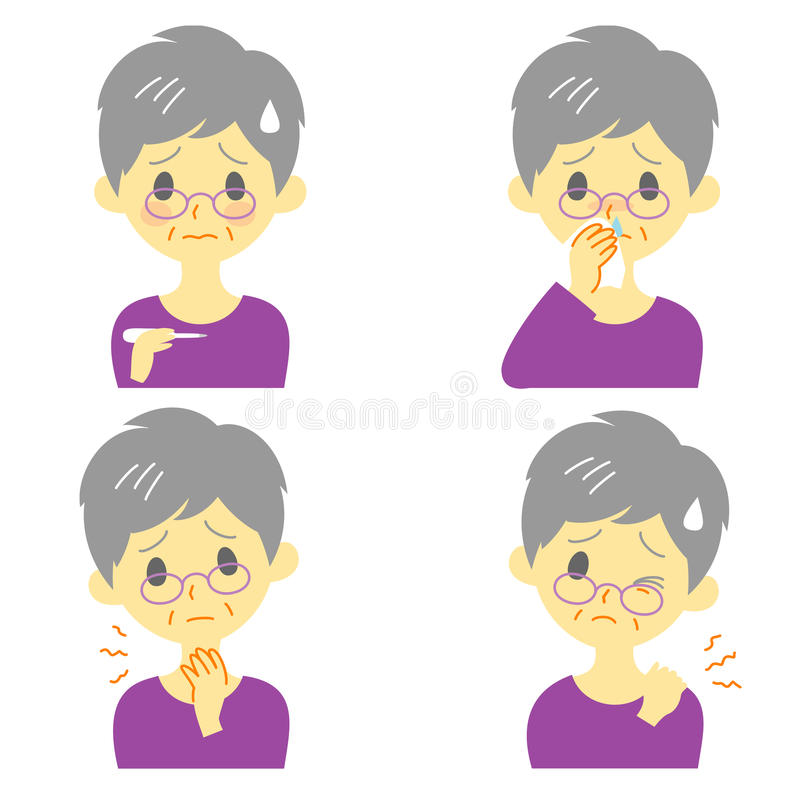 Disease Symptoms 02, old woman. Disease Symptoms 02, fever, sore throat,dripping nose, stiff neck, expressions, old woman vector illustration