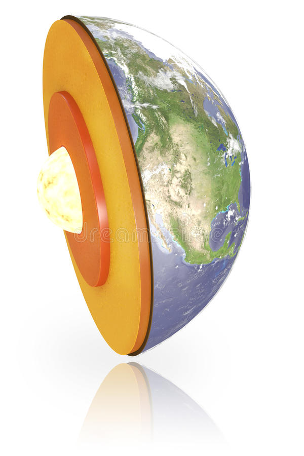 Disección aislada de la tierra con el camino de recortes ilustración del vector
