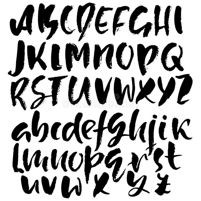 Disegnato a mano asciughi la fonte della spazzola Iscrizione moderna della spazzola Alfabeto di stile di lerciume Illustrazione d illustrazione vettoriale
