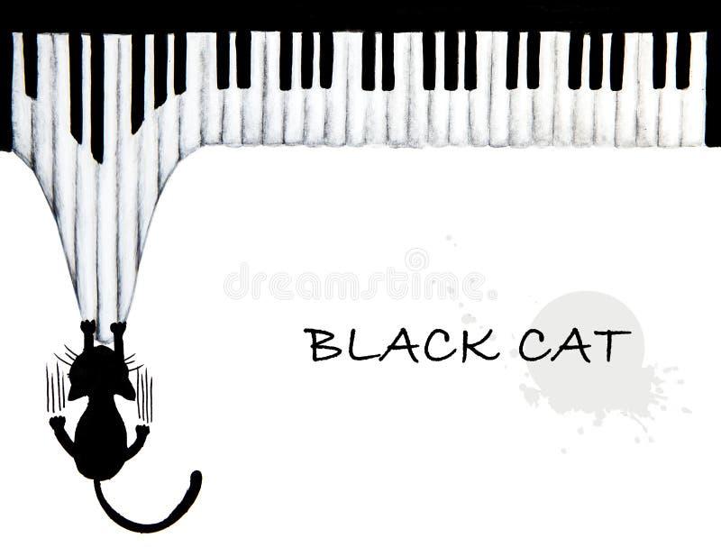 Disegnato a mano del piano di scratch di gatto nero illustrazione vettoriale