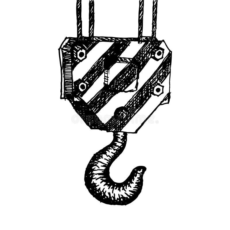 Disegnato a mano dell'illustrazione del gancio della gru isolato su bianco illustrazione vettoriale