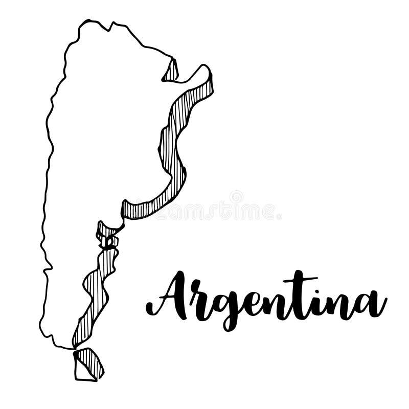 Disegnato a mano della mappa dell'Argentina, illustrazione royalty illustrazione gratis
