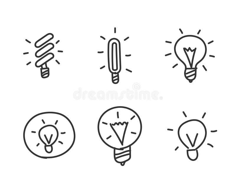 Disegnato a mano delle lampadine schizzato Idea Insieme delle icone Disegnato a mano linea stile royalty illustrazione gratis