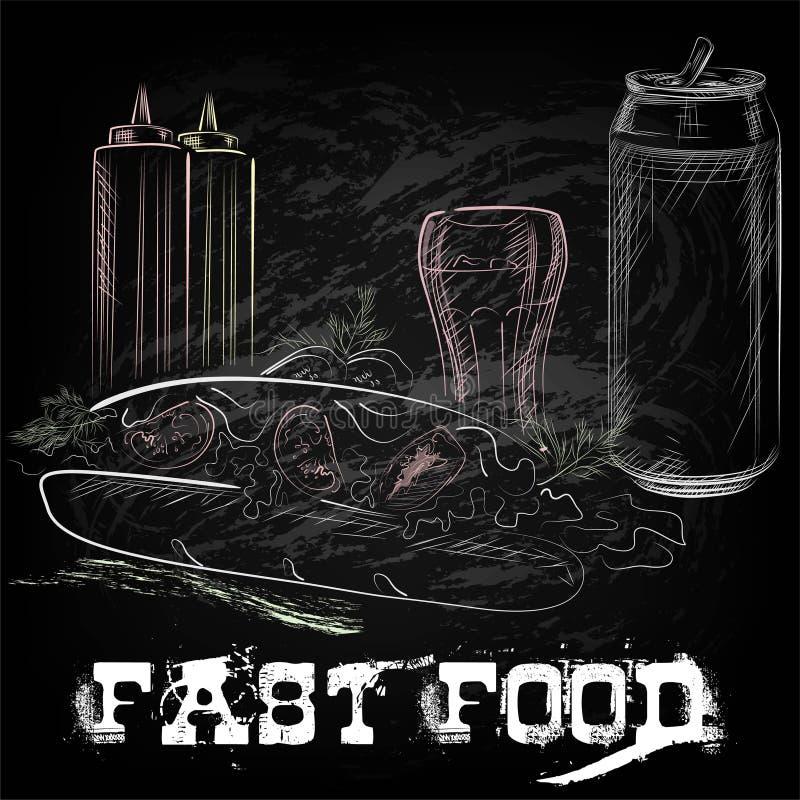 Download Disegnato A Mano Di Alimento Orientale Illustrazione Vettoriale - Illustrazione di fritture, coca: 55357509