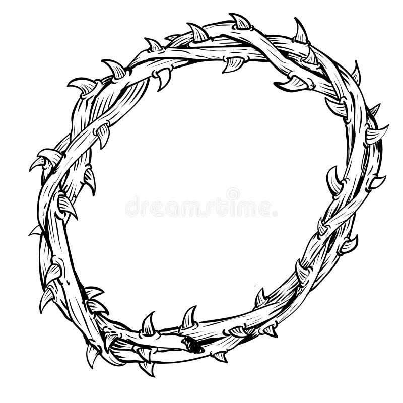 Disegnato a mano di Thorn Crown-Vector disegnato illustrazione di stock