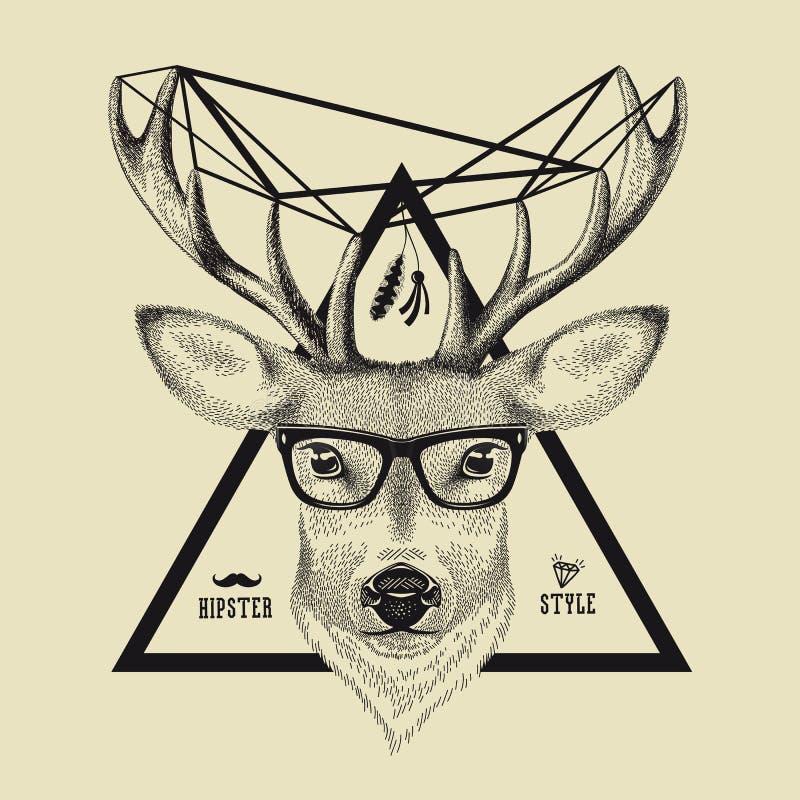 Disegnato a mano di un cervo diriga nello stile dei pantaloni a vita bassa Vector l'illustrazione degli occhiali d'uso di un cerv illustrazione di stock