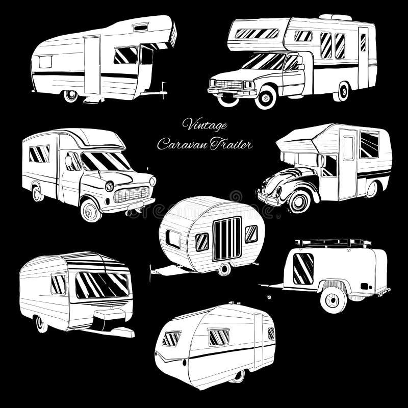 Disegnato a mano isolato insieme, rimorchio di campeggiatore di scarabocchio, ricreazione dell'automobile illustrazione di stock