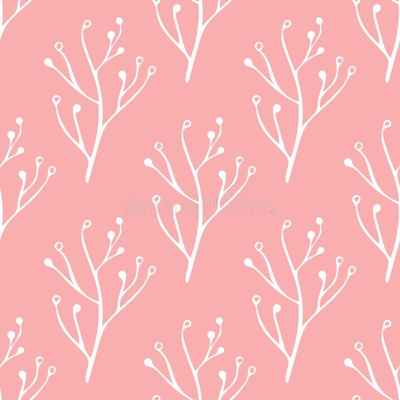 Disegnato a mano rosa e bianco senza cuciture, scarabocchio, modello floreale di vettore per fondo, contesto Stile scandinavo e e fotografie stock
