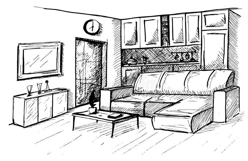 Disegnato a mano Schizzo lineare di un interno Piano della stanza Illustrazione di vettore illustrazione di stock