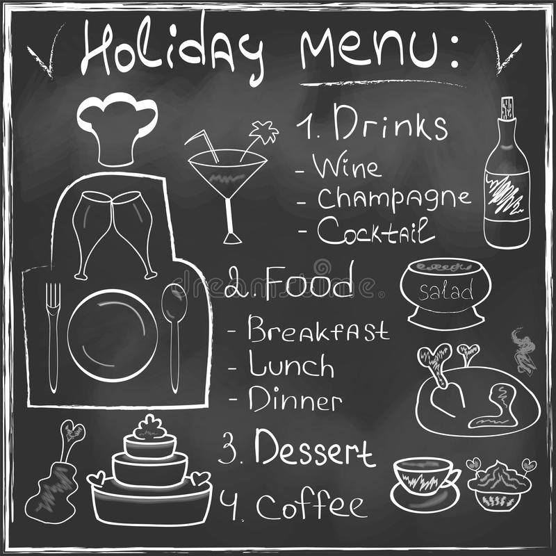 Disegnato a mano stabilito del menu dell'alimento di festa sulla ricerca della lavagna illustrazione vettoriale