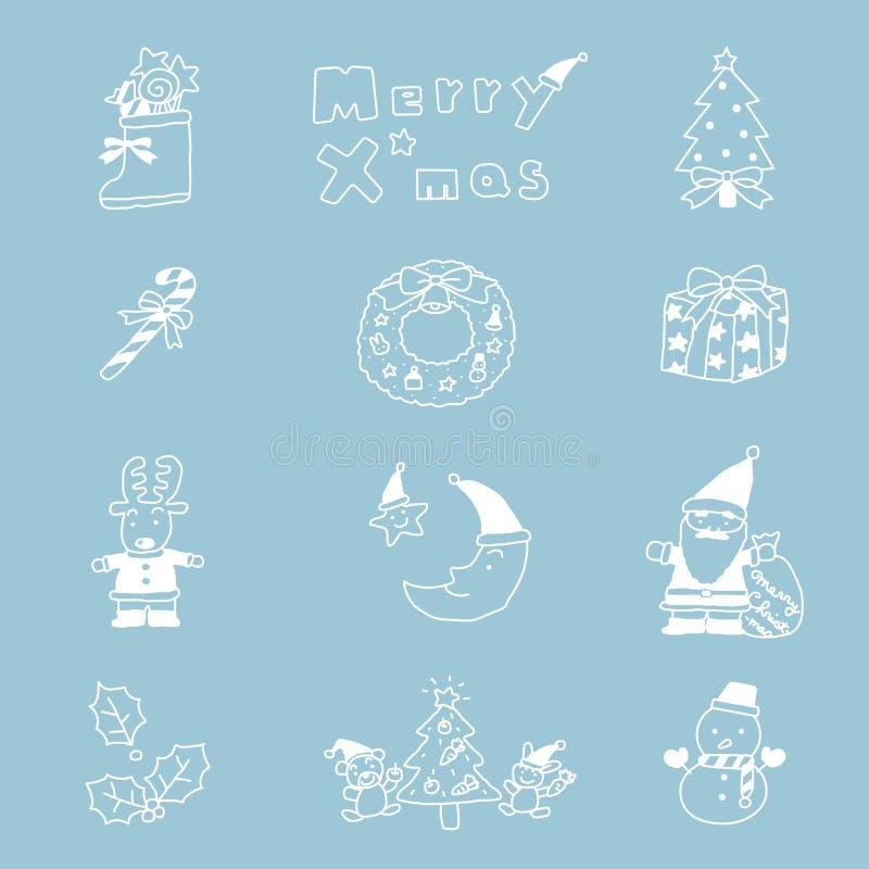 Disegnato a mano stabilito dell'icona di Natale illustrazione di stock