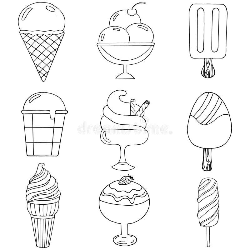 Disegnato a mano sveglio con differenti tipi di gelati illustrazione di stock
