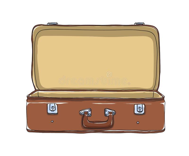 Disegnato a mano vuoto ed aperto dei bagagli d'annata di immagazzinamento nella valigia di Brown royalty illustrazione gratis