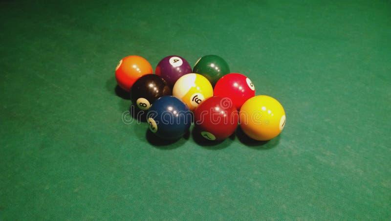 Disegnato nella posizione di partenza del gruppo di palle per un gioco dello stagno - palla nove immagine stock libera da diritti