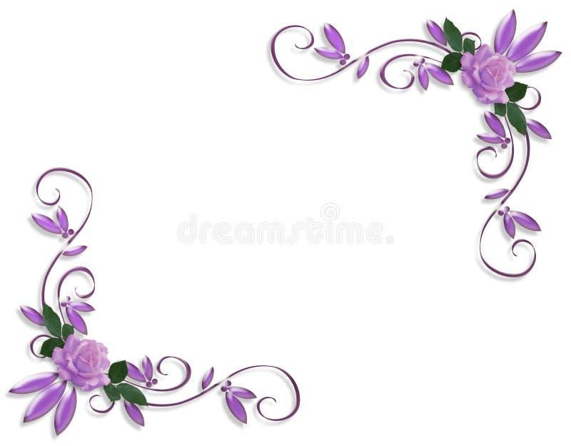 Disegni d'angolo del bordo delle rose viola illustrazione di stock