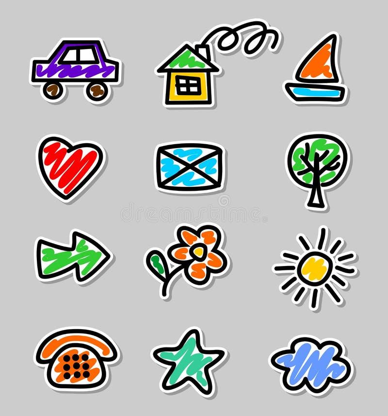 Disegni dei bambini delle icone immagini stock