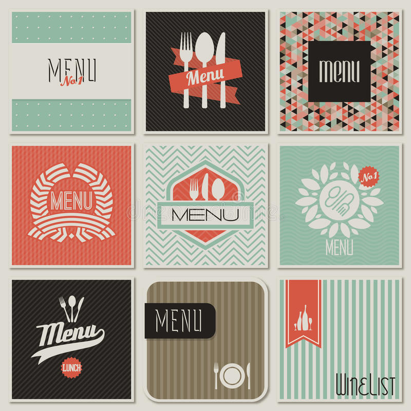 Disegni del menu del ristorante. Illustrazione di vettore. illustrazione di stock