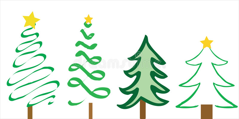 Disegni dell'albero di Natale illustrazione vettoriale