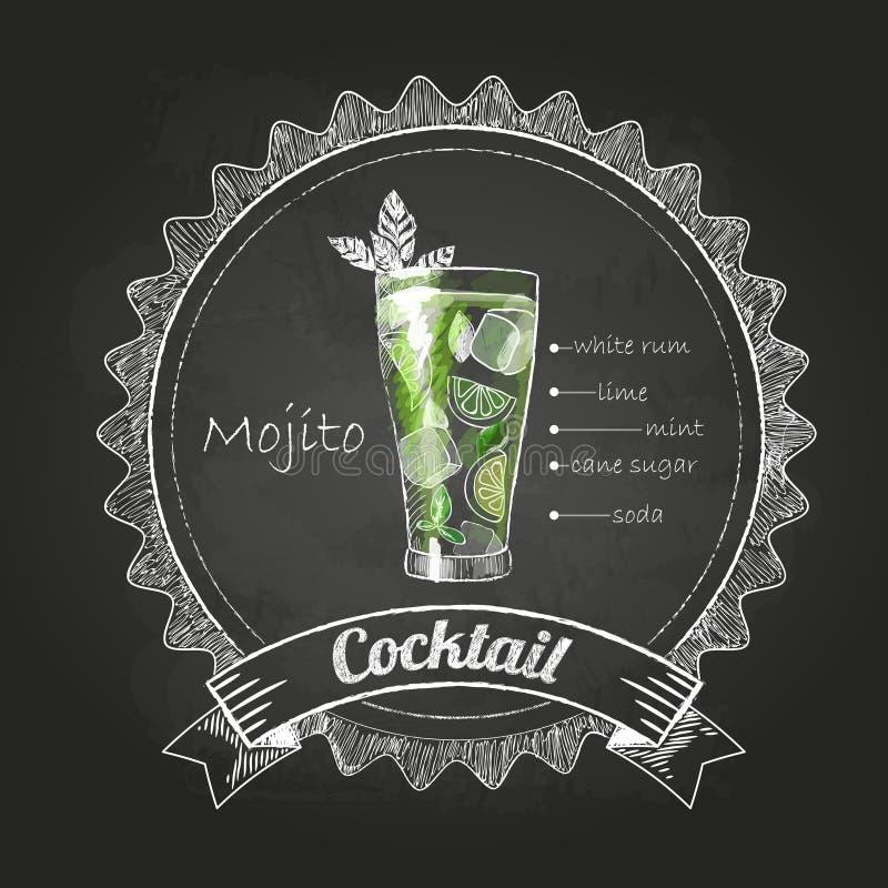 Disegni di gesso cocktail illustrazione vettoriale