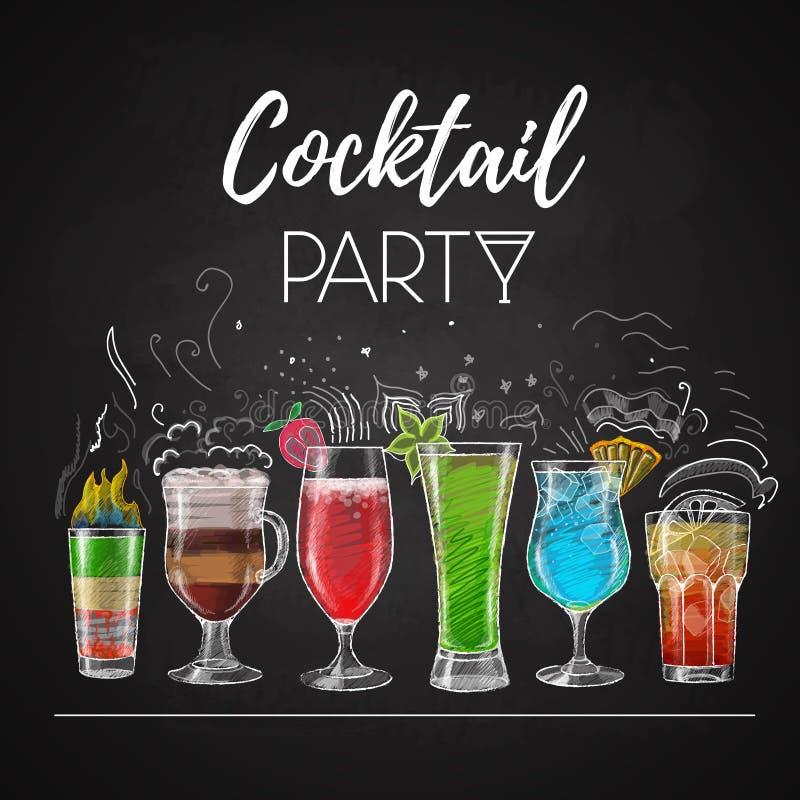 Disegni di gesso menu del cocktail illustrazione di stock