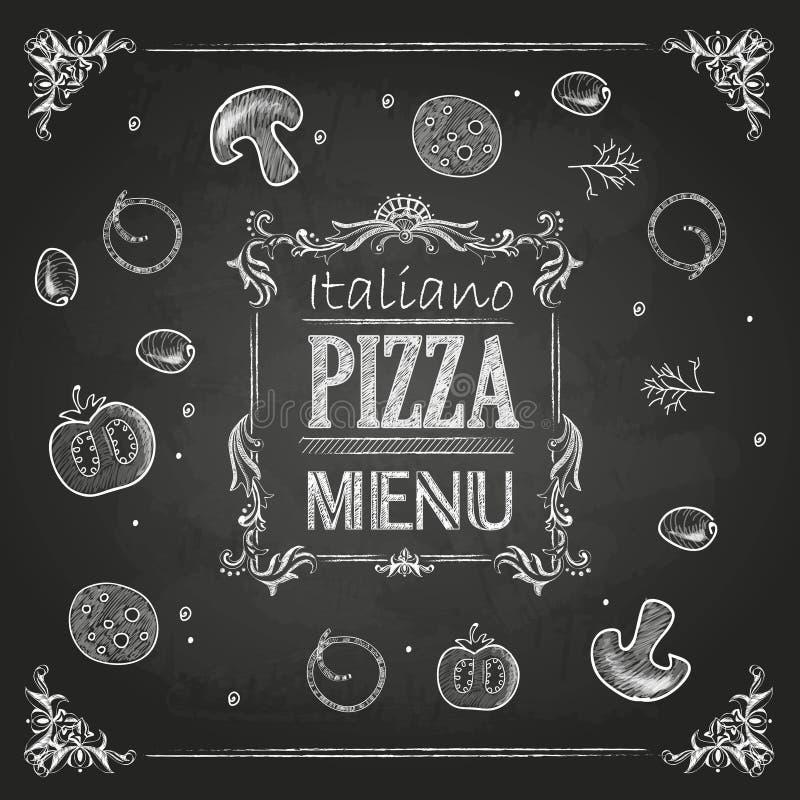 Disegni di gesso Pizza illustrazione vettoriale