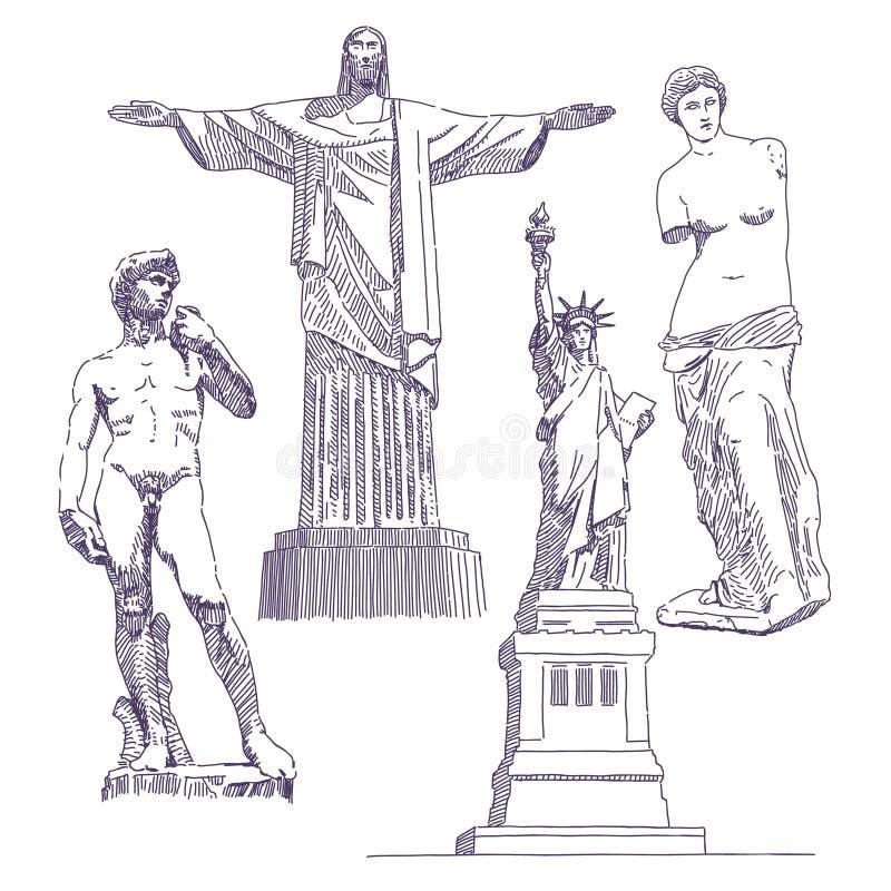 Disegni famosi delle statue royalty illustrazione gratis