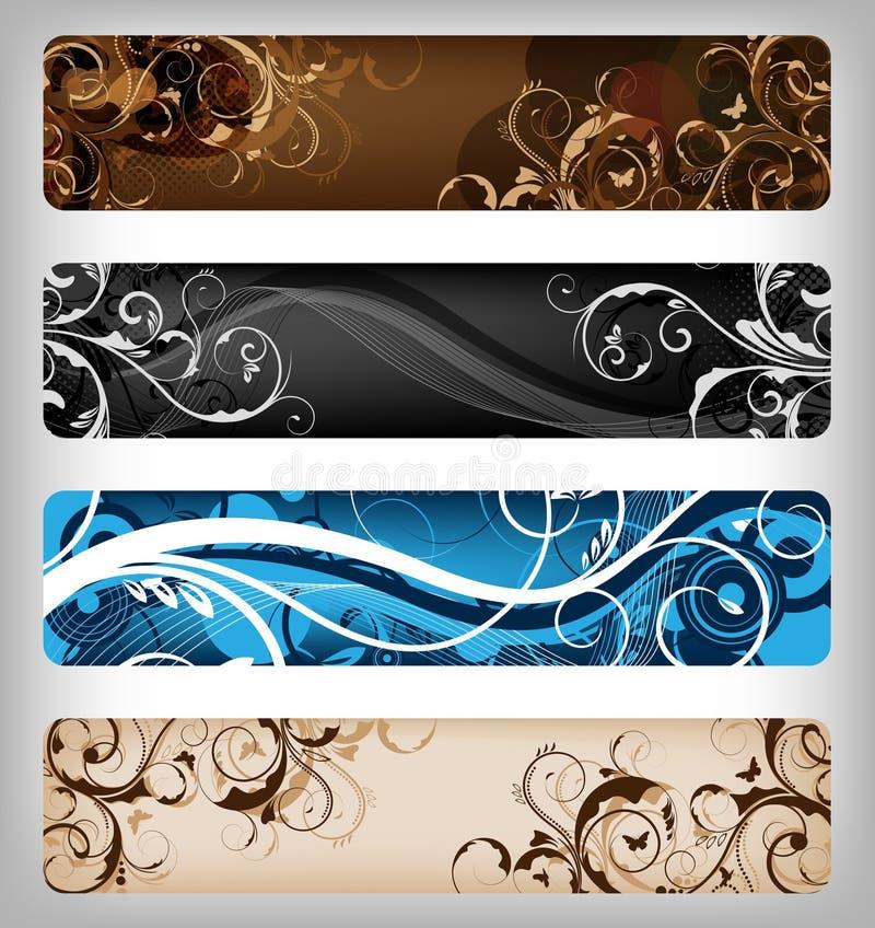Disegni floreali/bandiera royalty illustrazione gratis