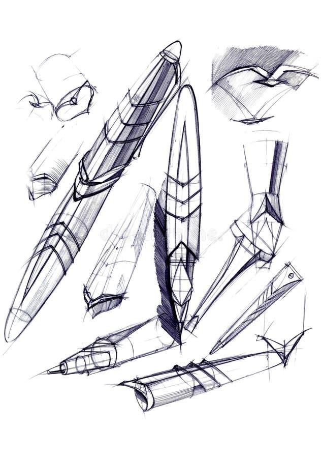 Disegni lo sviluppo di schizzo della progettazione di una penna e di una penna a sfera esclusive fotografia stock